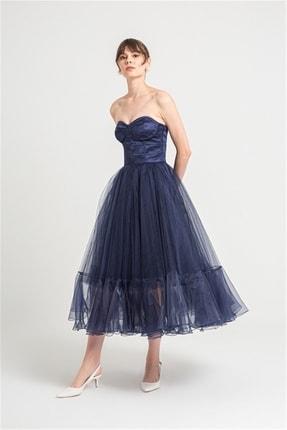 rue. Göğüs Kuplu Straplez Kabarık Organze Etekli Lacivert Elbise