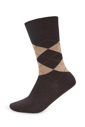 Hemington Baklava Desenli Koyu Kahverengi Pamuk Çorap