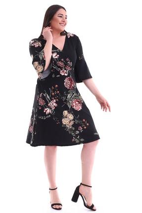 Alesia Kadın Siyah Kruvaze Yaka Volan Kol Çiçek Desenli Elbise