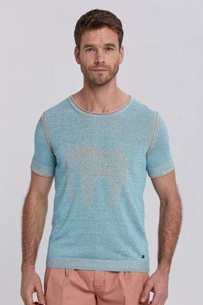 Hemington Erkek  Desenli Turkuaz Keten Pamuk Triko T-shirt