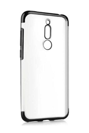 Meizu M6t Kılıf Köşeleri Lazer Boyalı Şeffaf Silikon Siyah