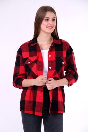 BAO TASARIM Kadın Kırmızı Siyah Oversize Ekose Oduncu Gömleği