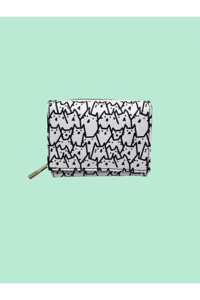 musweven Kedi Desenli Küçük Desenli Cüzdan Kartlık Bozuk Para Bölmeli Kredi Kartı Sade