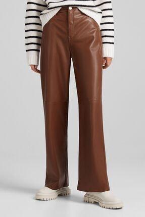 Bershka Suni Deri Straight Fit Pantolon