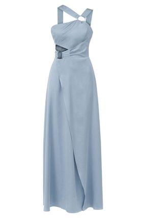 Perspective Areli Slim Fit Asimetrik Kol Mint Elbise