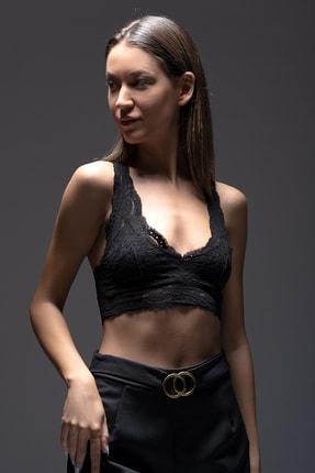 qp Secret Kadın Siyah Büstiyer Dantel Crop Top