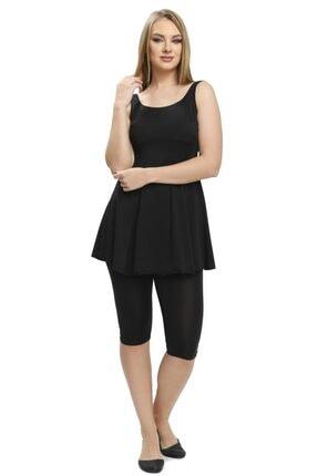 Armes Büyük Beden Taytlı Elbise Mayo Yarı Kapalı Mayo 9034 Siyah
