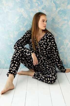 Sude Plr-p-9002 Siyah Önden Düğmeli Polar Pijama Takımı