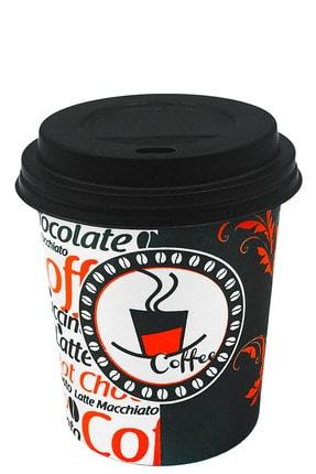 Aygün Cup 8 Oz Siyah Kapaklı Karton Kahve Bardak 250 ml - 100'lü