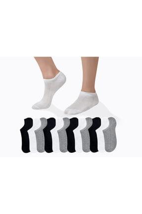 CUBBUX Unisex 12 Çift Detaylı 3 Farklı Renk Kısa Çorap(ANTİBAKTERİYEL)