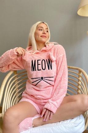 Pijamaevi Kadın Pembe Şortlu Tam Peluş Pijama Takımı