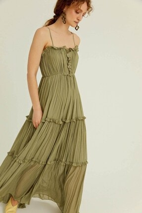 rue. Haki Askılı Volanlı Uzun Elbise