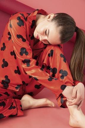 ELİTOL Bayan Saten Düğmeli Pijama Takım
