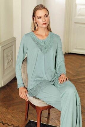 Artış Çağla Yeşili Viskon Pijama Takımı-11200-1