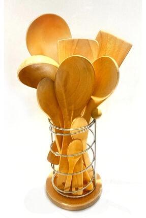 Kitchen Mania 10 parça bambu ahşap kaşık tahta spatula servis kepçe seti-metal standlı