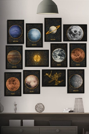 Tontilika 12 Parça Çerçeve Görünümlü Gezegenler Galaksi Temalı Mdf Tablo Seti (80x80 Cm)