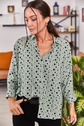 armonika Kadın Mint Puanli Salaş Gömlek ARM-21Y001072