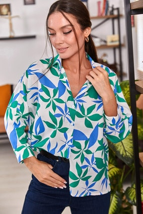 armonika Kadın Yeşil Desenli Salaş Gömlek ARM-21Y001073