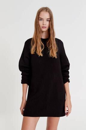 Pull & Bear Uzun Kollu Ters Örgü Elbise