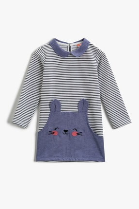 Koton Kız Bebek Ekru Çizgili Elbise 2KMG89090ZK