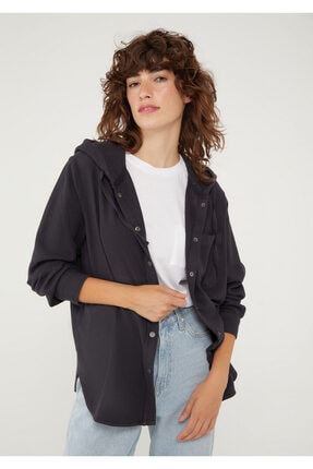 Mavi Kapüşonlu Siyah Gömlek 122844-900