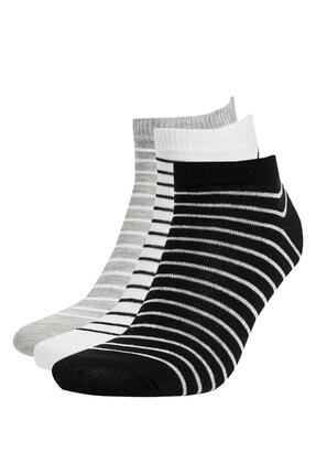 DeFacto Çizgili 3'lü Patik Çorap