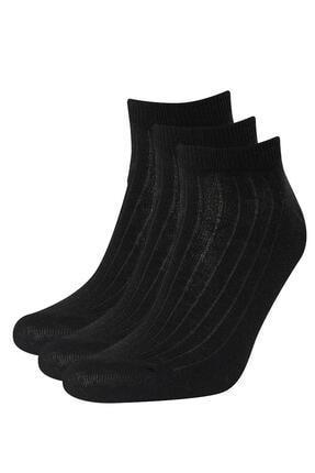 DeFacto Erkek Siyah 3'Lü Patik Çorap V9738AZ21HSBK