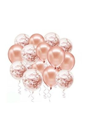 BalonEvi Rose Gold Konfetili Balon Seti 20 Adet