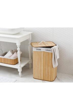 English Home Fancy Bambu Katlanabilir 2 Bölmeli Çamaşır Sepeti 40x30x60 Cm Bej