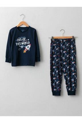 LC Waikiki Bisiklet Yaka Karanlıkta Parlayan Baskılı Uzun Kollu Pamuklu Erkek Çocuk Pijama Takımı