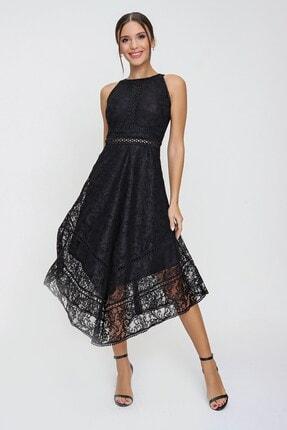 By Saygı Halter Yaka Astarlı Asimetrik Dantel Elbise Siyah