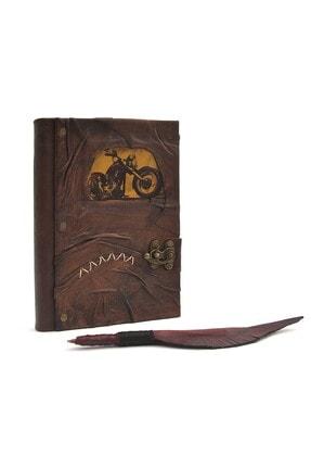 valerio stil El Yapımı Kahverengi Deri Günlük Eski Deri Defter Hakiki Deri Ciltli Günlük Defteri Kalem Hediyeli