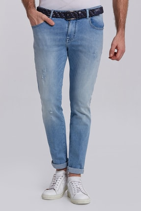 Hemington Buz Mavisi Taşlama Slim Fit Denim Pantolon