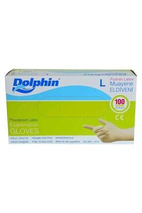 Dolphin Pudralı Beyaz Latex Eldiven Büyük Boy (L) 100 Lü Paket