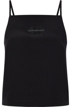 Calvin Klein Kadın Siyah Poly Satın Weave Camısole Gömlek