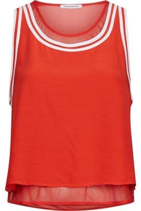 Calvin Klein Kadın Kırmızı Tank Wıth Mesh Lınıng Gömlek