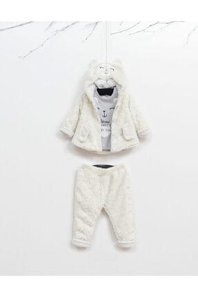 Wogi Kız Bebek Beyaz Peluş 3lü Takım