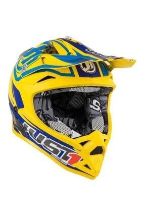 Just1 Motocross Enduro Kask J32 Rave Mavi Sarı