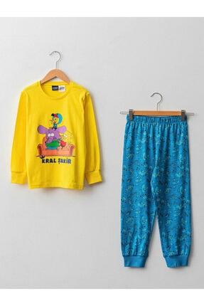 LC Waikiki Bisiklet Yaka Kral Şakir Baskılı Uzun Kollu Erkek Çocuk Pijama Takımı