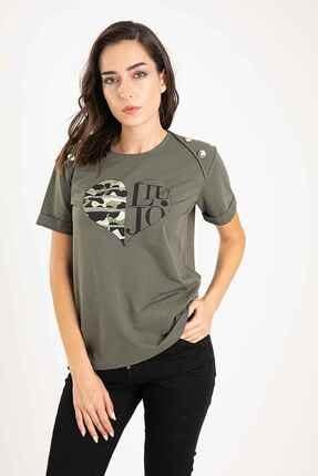 Liu Jo Yuvarlak Yaka Metal Aksesuarlı T-shirt
