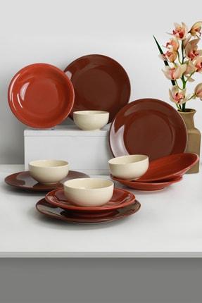 Keramika Ege Degrade Kahverengi Yemek Takımı 12 Parça 4 Kişilik