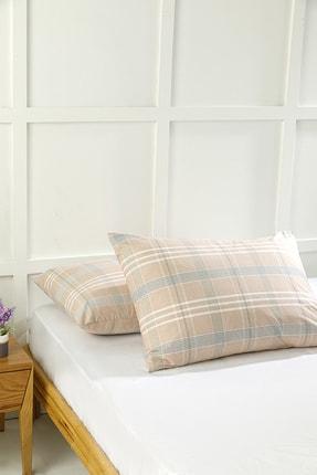 English Home Check Natural Pamuklu 2'li Yastık Kılıfı 50x70 Cm Pembe