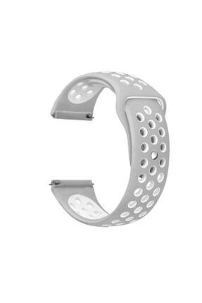 Gpack Google Ticwatch S2 Uyumlu  Wear Os Kordon Delikli Çift Renk Silikon Gri Koyu