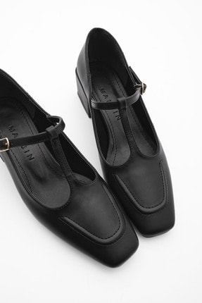 Marjin Kadın Günlük Klasik Topuklu Ayakkabı Panrisiyah