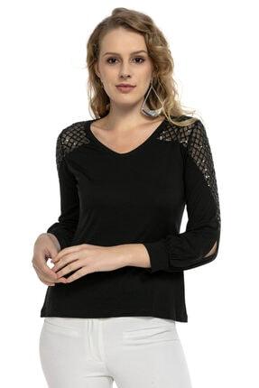 Modagusto Siyah V Yaka Omzu Tül Işleme Detaylı Bluz