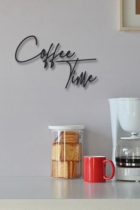 NT Handmade Siyah Ahşap Coffee Time Kahve Zamanı Duvar Süsü Yazısı Mutfak Cafe Için Duvar Dekoru 45x30 cm Tablo