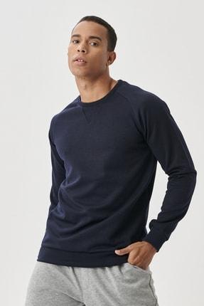 AC&Co / Altınyıldız Classics Erkek Lacivert Standart Fit Günlük Rahat Bisiklet Yaka Spor Sweatshirt