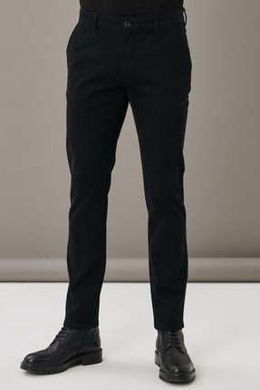 AC&Co / Altınyıldız Classics Erkek Siyah Kanvas Slim Fit Dar Kesim Yan Cep Chino Pantolon