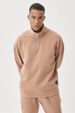 AC&Co / Altınyıldız Classics Erkek Vizon Oversize Fit Günlük Rahat Bato Yaka Sweatshirt