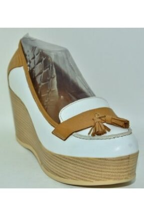 İnci Beyaz Deri Dolgu Topuk Ayakkabı